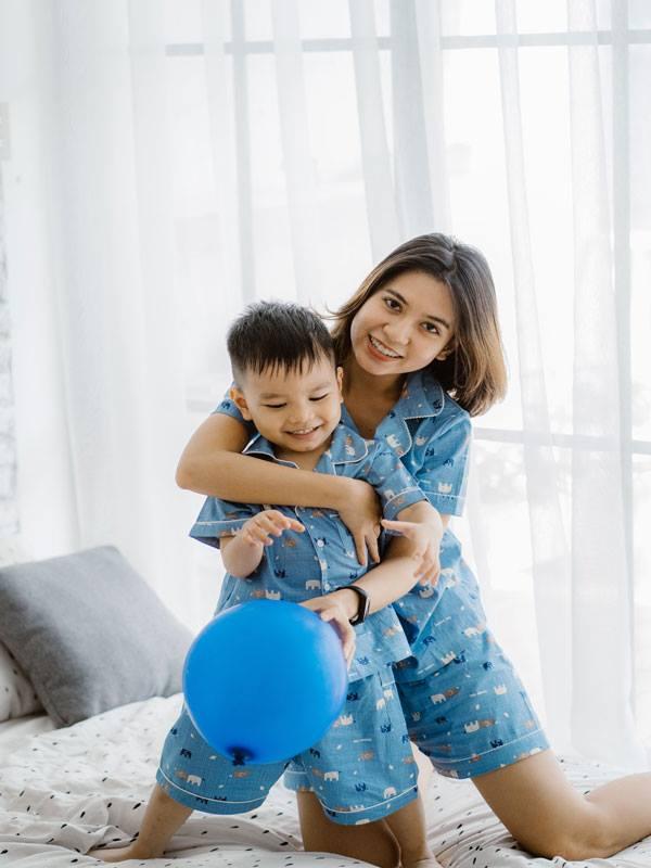 Bộ Pijama mặc nhà bé trai (Kẻ Caro Voi - màu Xanh)
