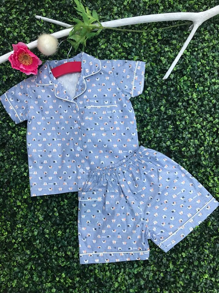 Bộ Pijama mặc nhà bé trai (Kitty - màu Xanh)