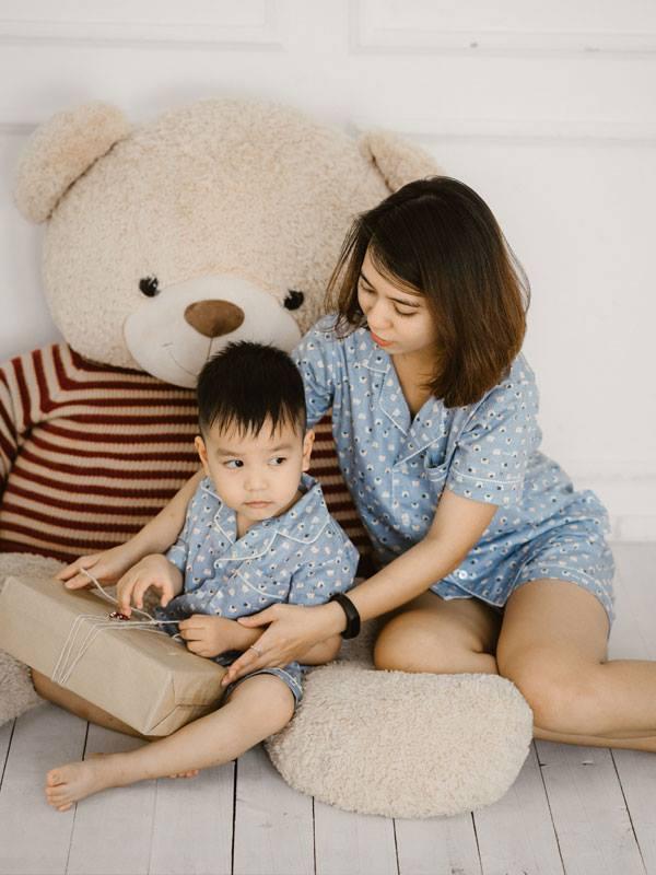 Bộ Pijama mặc nhà bé trai (Mèo - màu Xanh)