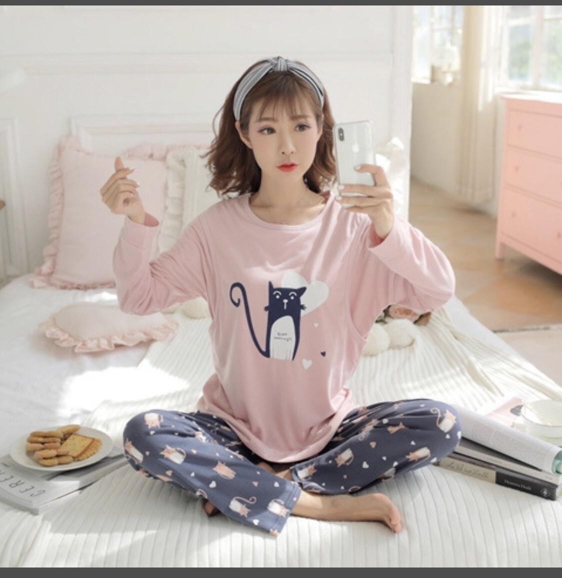 Bộ mặc nhà Bầu & sau sinh cho con bú mèo hồng SD20